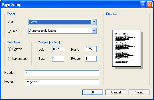 page setup dialog box windows applications microsoft docs