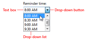 screen shot of reminder time combo box