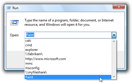screen shot of run dialog box with drop down list