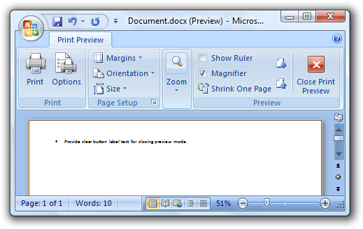 Screen Shot Of Close Print Preview Icon And Label