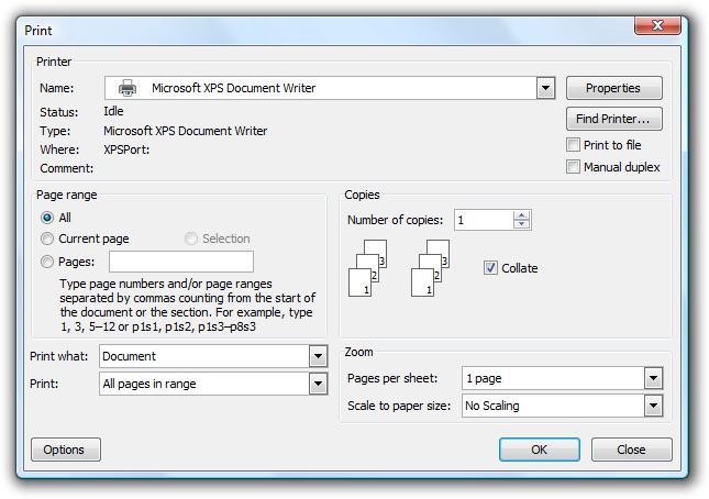 Screen Shot Of Print Dialog Box
