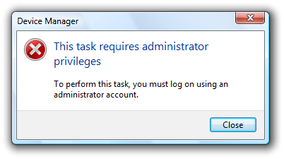 login with administrator privileges