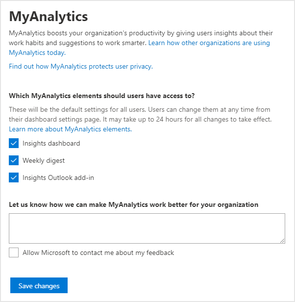 MyAnalytics configuration for Office 365 administrators
