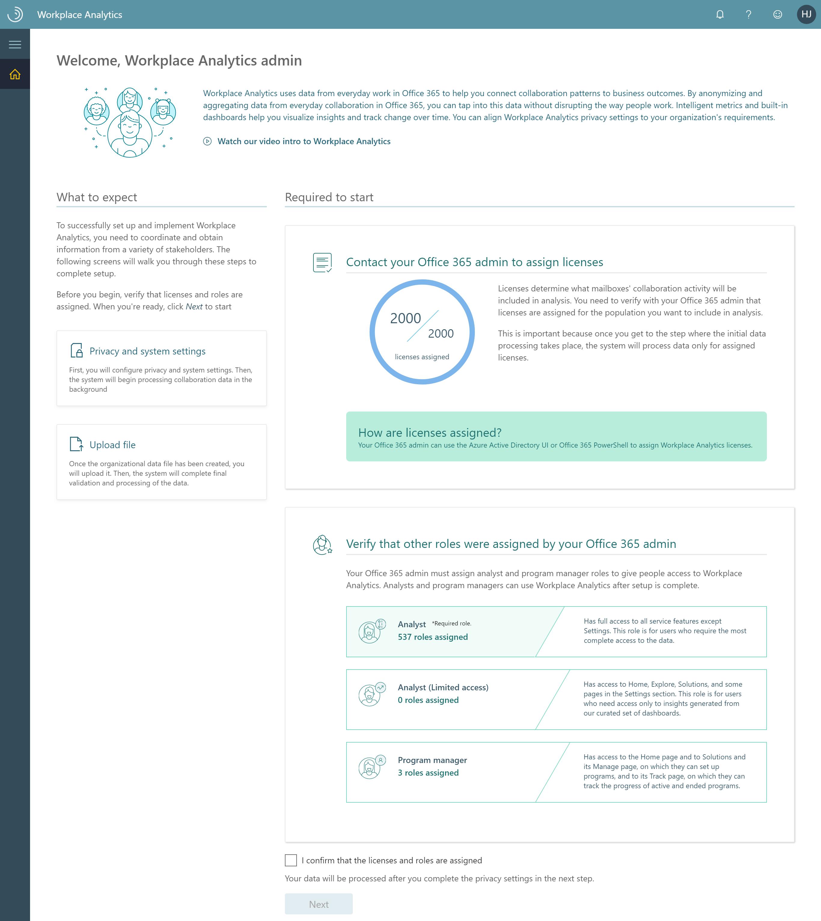 Workplace Analytics setup - Workplace Analytics Office 365