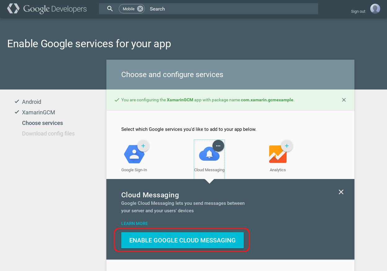 Google Cloud Messaging - Xamarin | Microsoft Docs