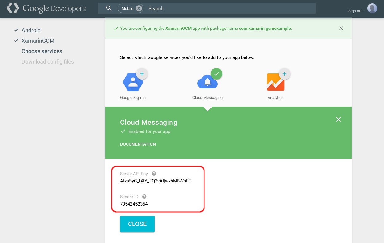 Google Cloud Messaging - Xamarin   Microsoft Docs