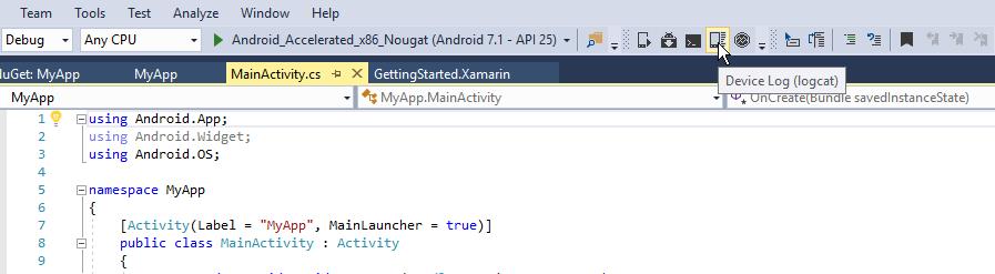 Android Debug Log - Xamarin | Microsoft Docs