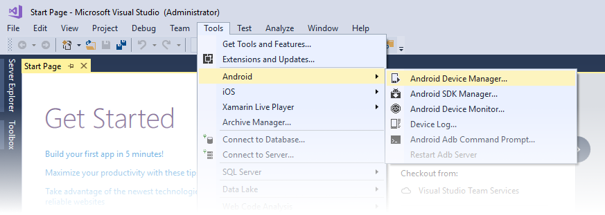 Managing Virtual Devices with the Android Device Manager
