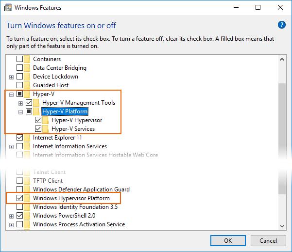 Enabling Hyper-V and Windows Hypervisor Platform