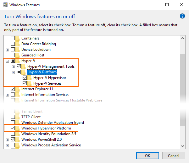 Hardware Acceleration for Emulator Performance (Hyper-V