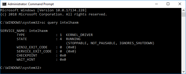 Output from sc query command when HAXM is available