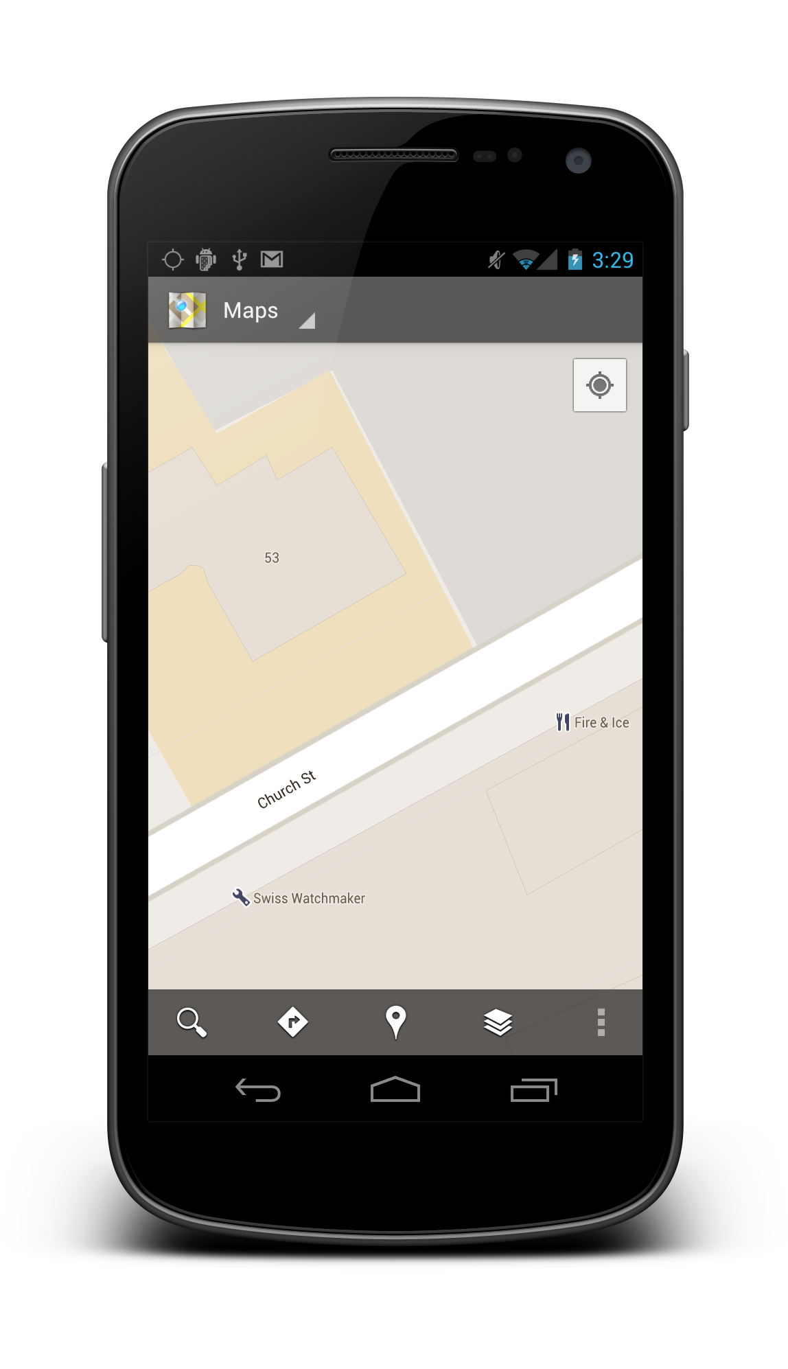 Example screenshot of built-in Google Maps app