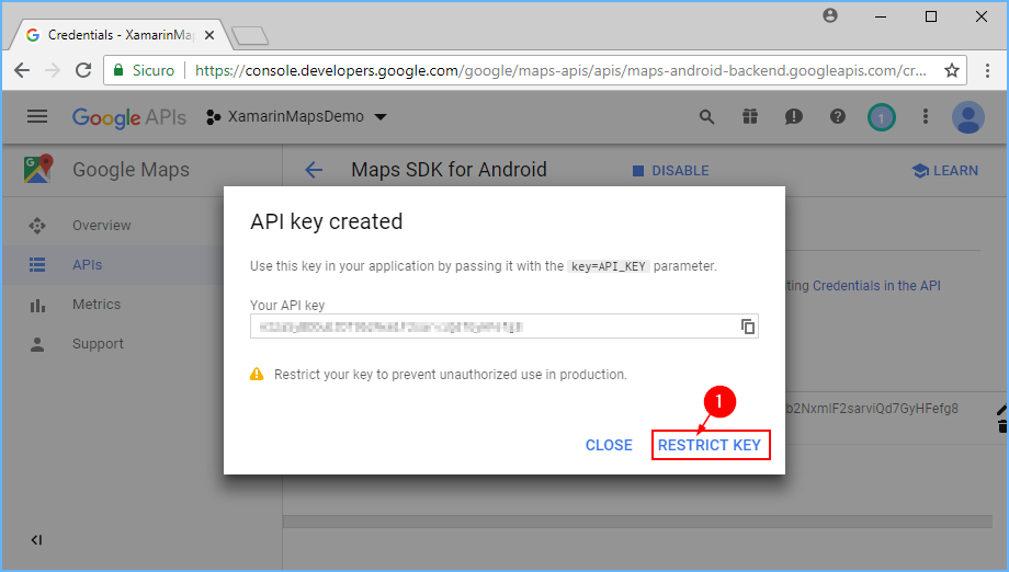 Obtaining a Google Maps API Key Xamarin