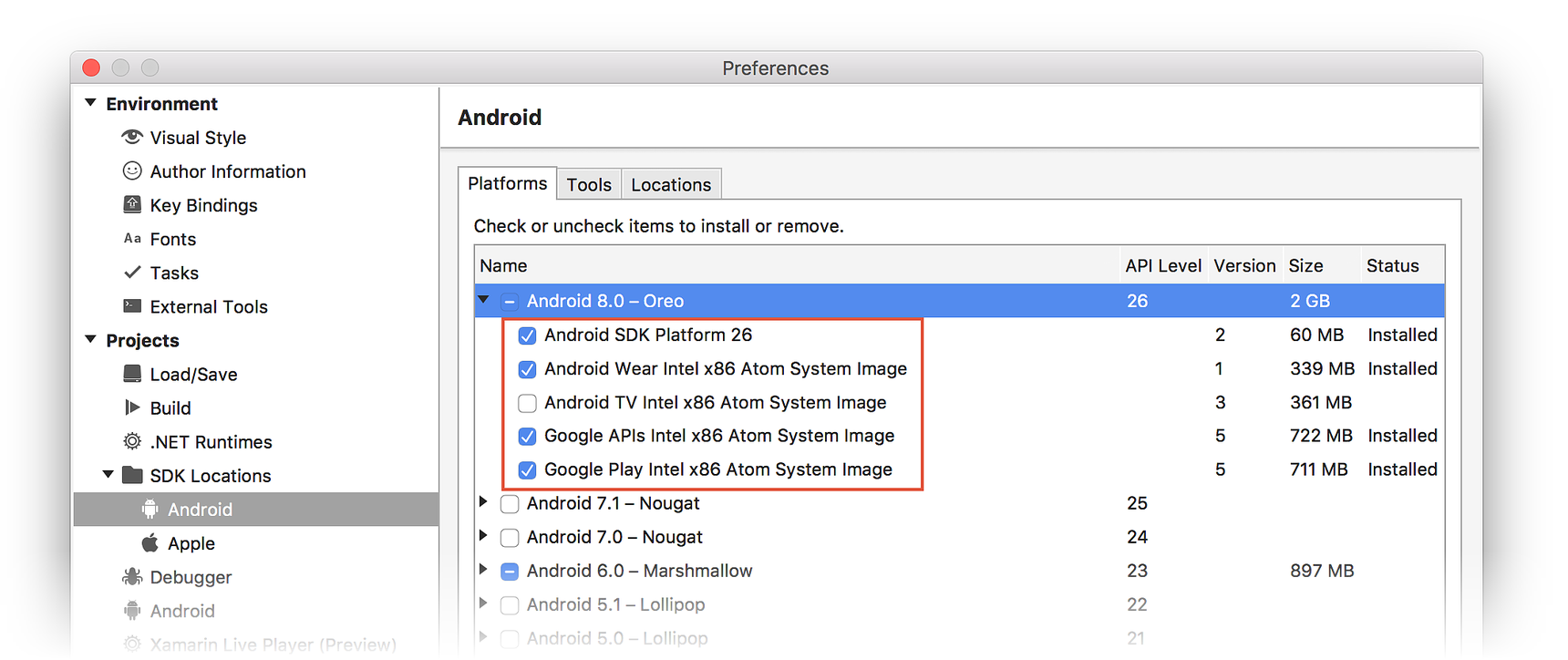 Android sdk 26