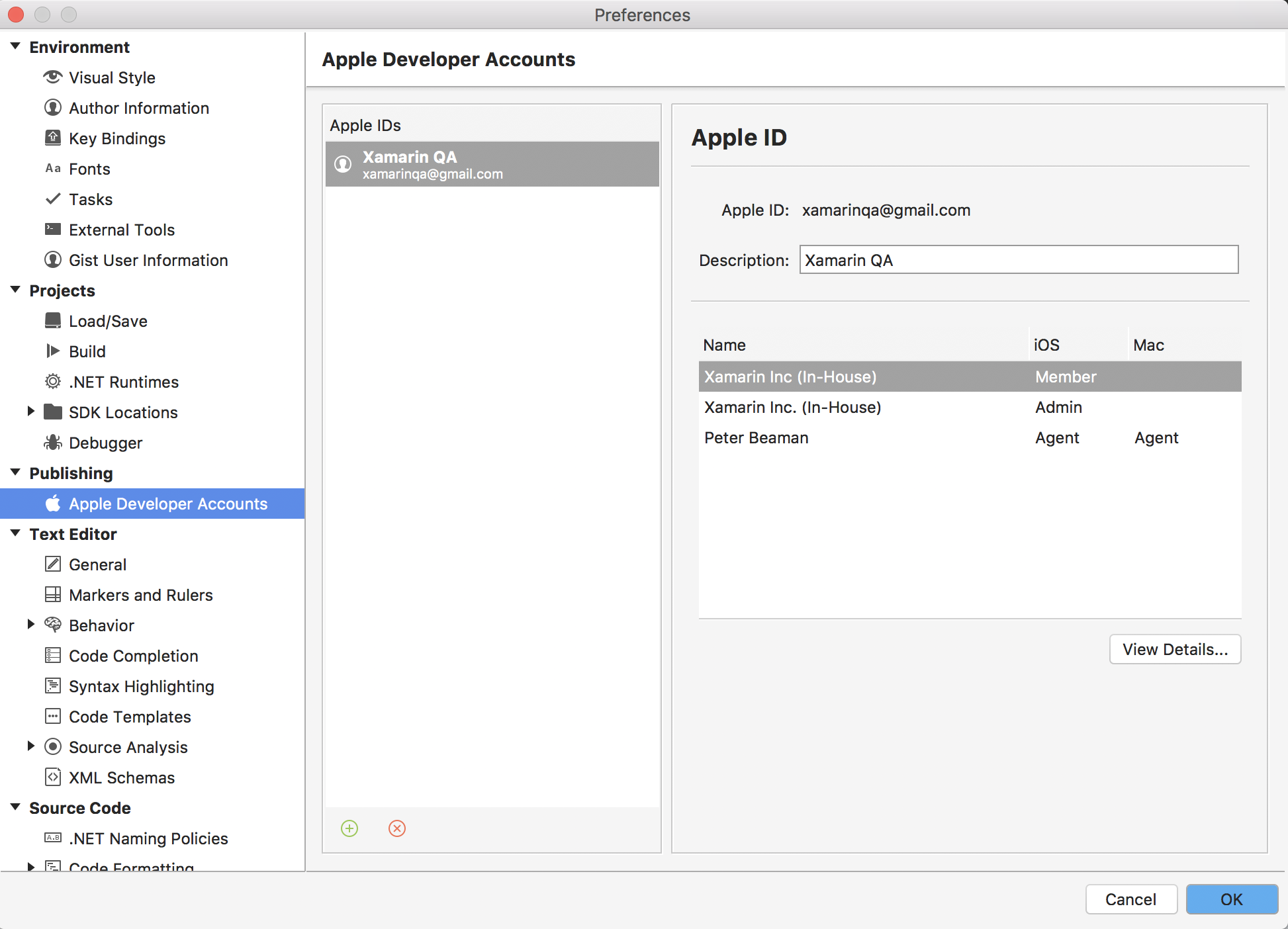 Apple Account Management - Xamarin | Microsoft Docs