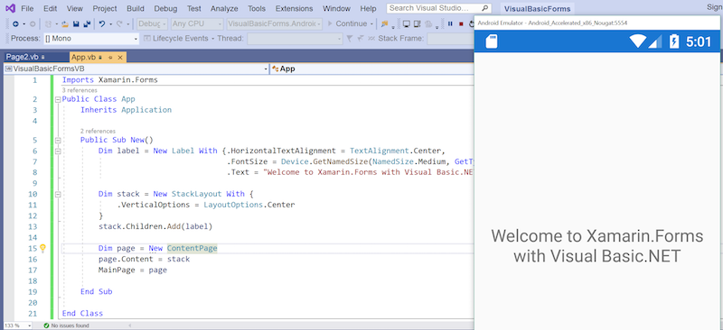 Xamarin forms using visual basic net xamarin microsoft for Xamarin studio code templates