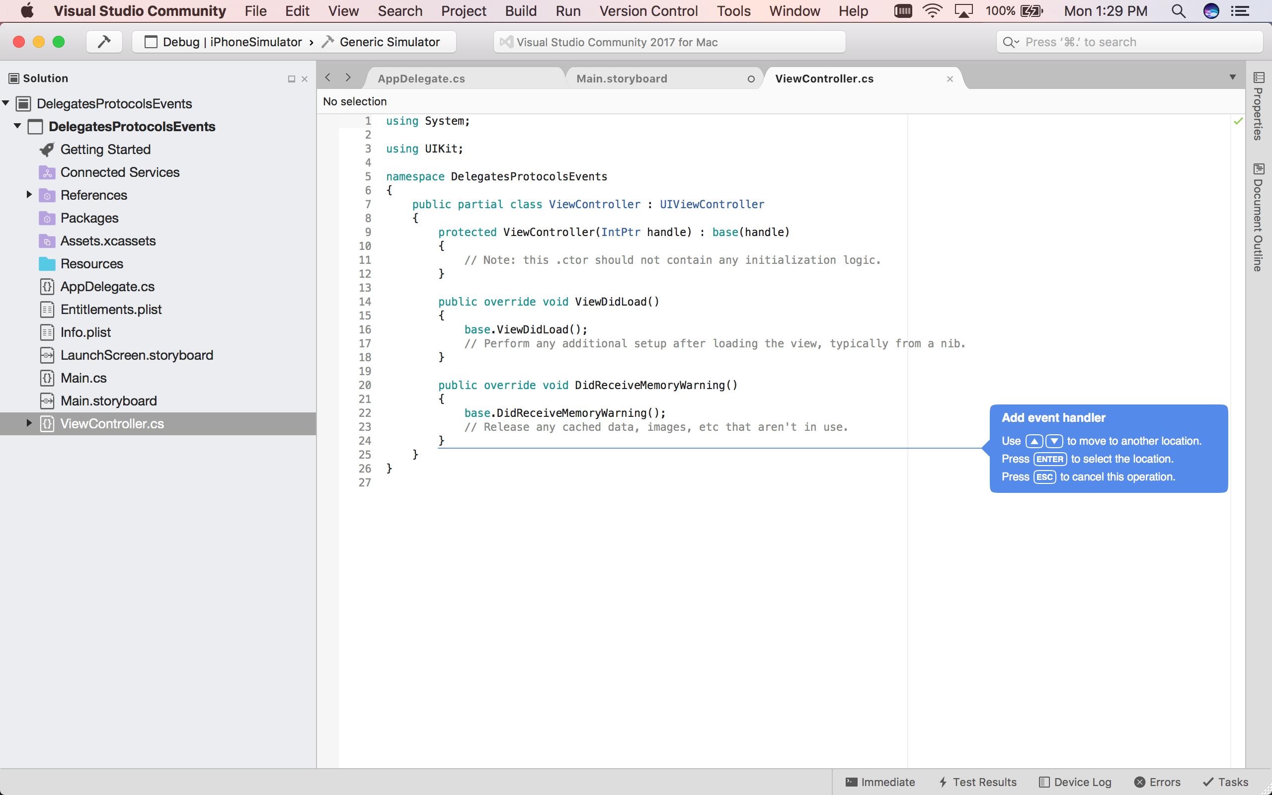 Events, Protocols and Delegates in Xamarin iOS - Xamarin | Microsoft