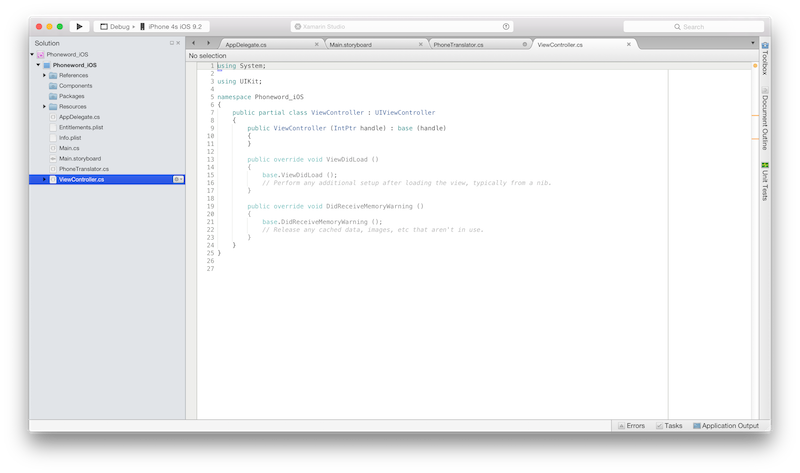 Hello, iOS – Quickstart - Xamarin   Microsoft Docs