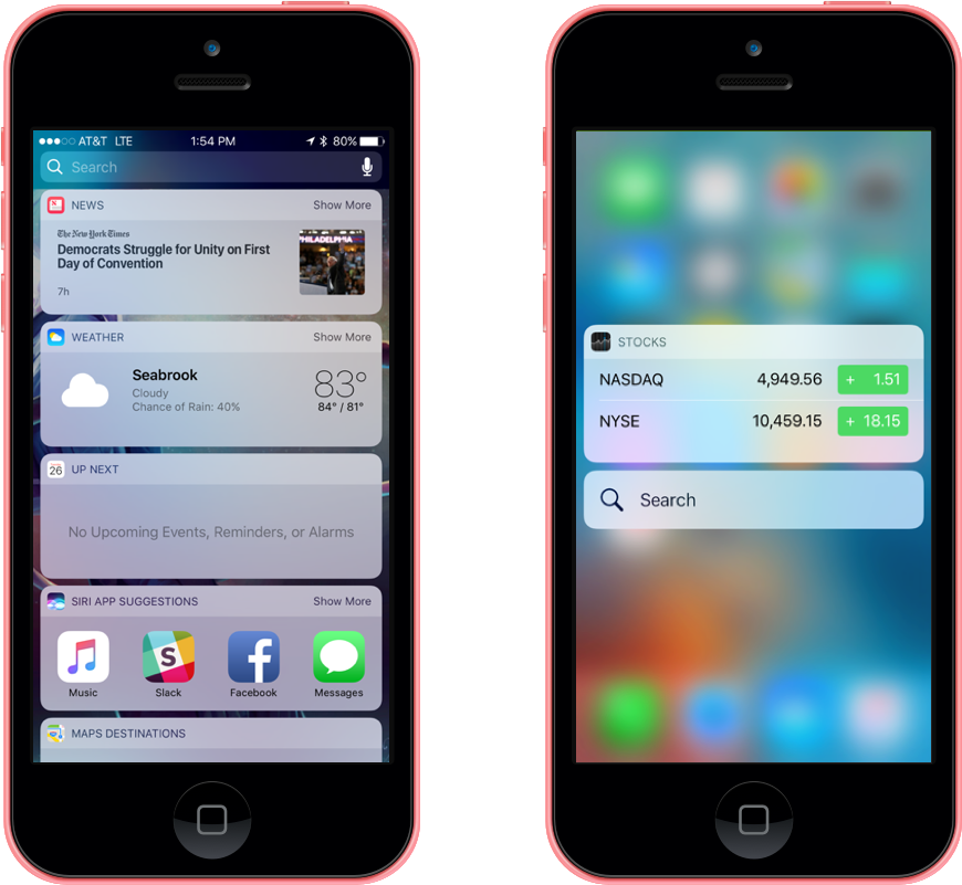Search and Home Screen Widget Enhancements in iOS 10
