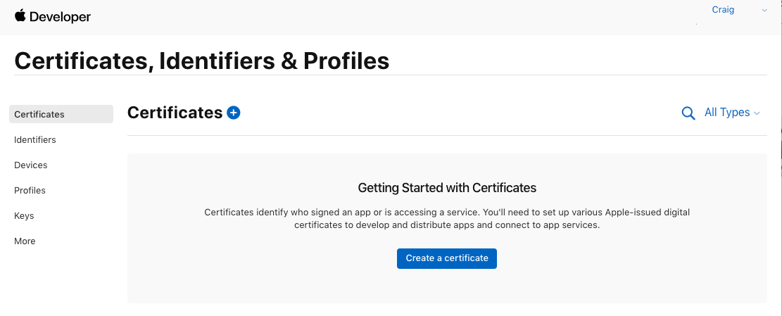 Certificates And Identifiers In Xamarinc Xamarin Microsoft Docs
