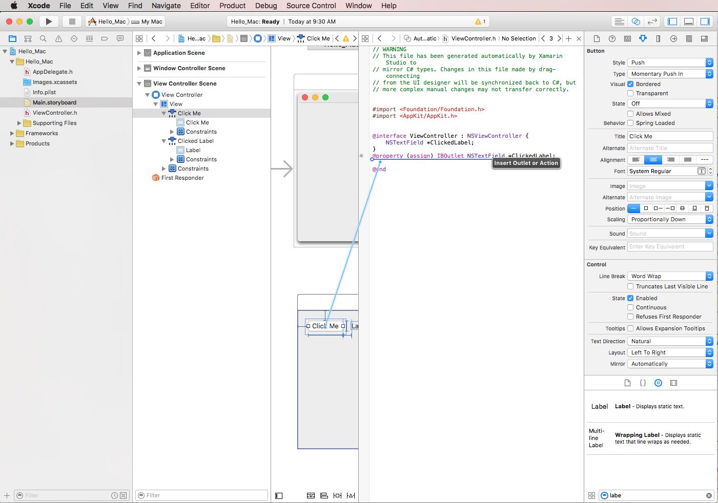 Hello mac walkthrough xamarin microsoft docs change ccuart Images