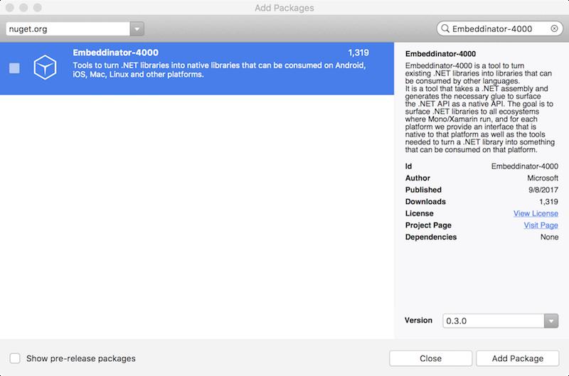Installing  NET Embedding - Xamarin | Microsoft Docs