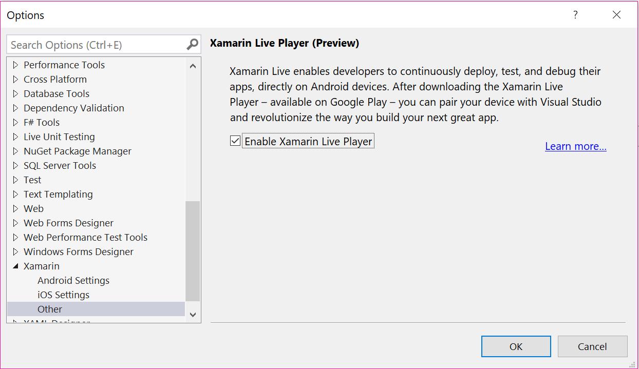 Xamarin Live Player Visual Studio configuration - Xamarin