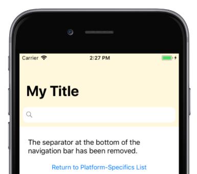 NavigationPage Bar Separator on iOS - Xamarin | Microsoft Docs
