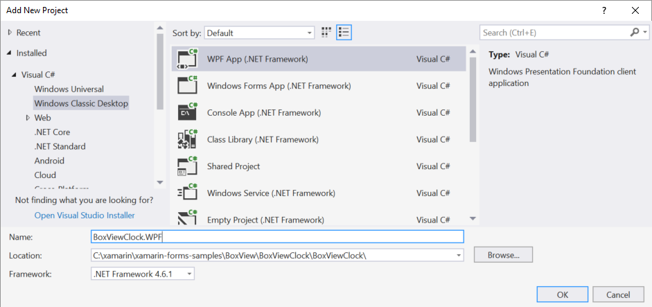 Add a new WPF project