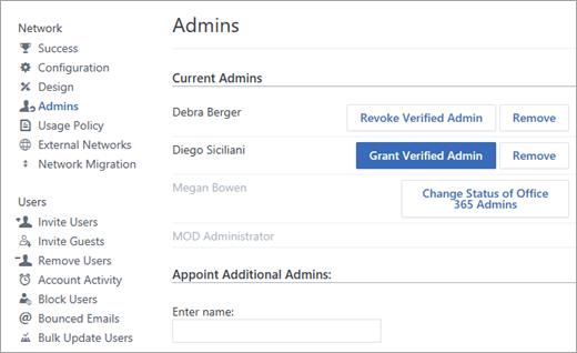 Manage Yammer admins | Microsoft Docs