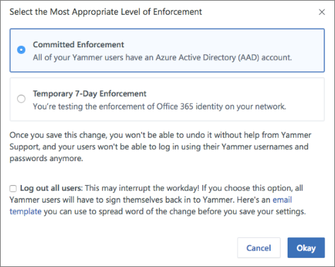 Enforce Office 365 identity for Yammer users | Microsoft Docs