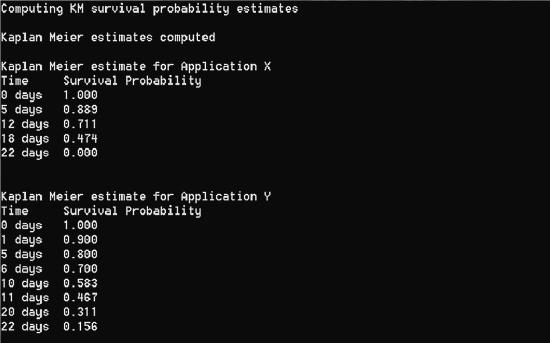 Uscita demo di analisi di sopravvivenza per stime per applicazioni x e e