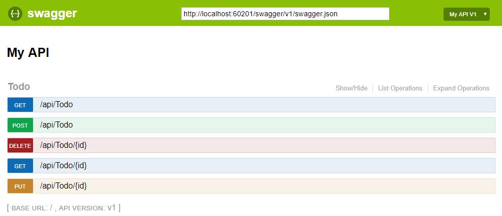 Páginas de ayuda de ASP NET Core Web API con Swagger/Open