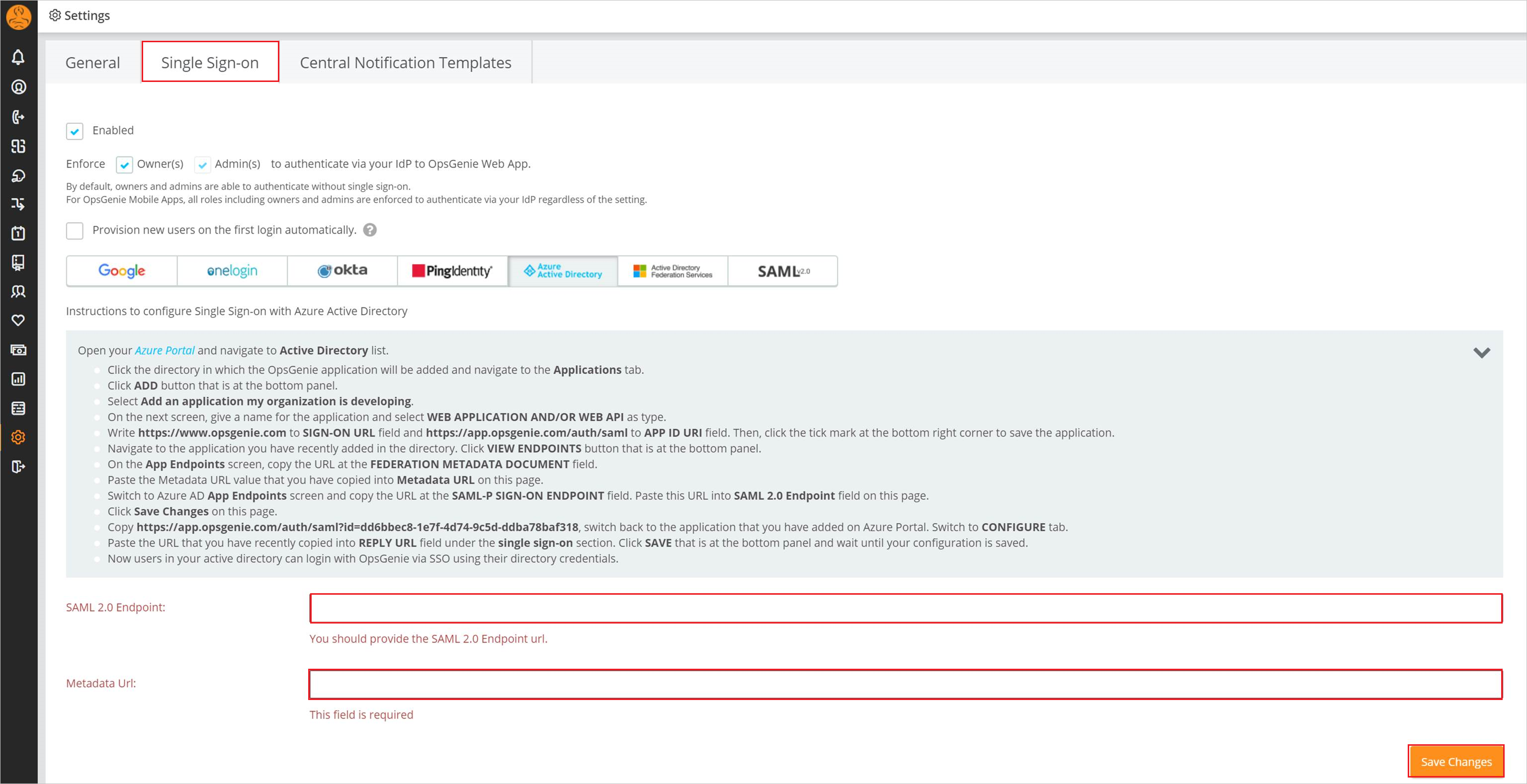 Tutorial: Integración de Azure Active Directory con OpsGenie ...