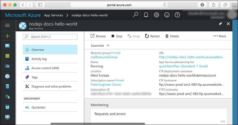 Página de App Service en Azure Portal