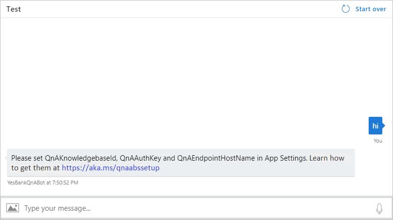 Chat en web del bot de QnA