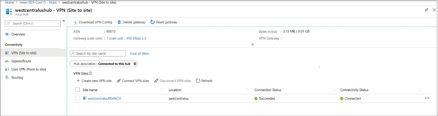 Azure Virtual WAN: creación de conexiones de sitio a sitio | Microsoft Docs