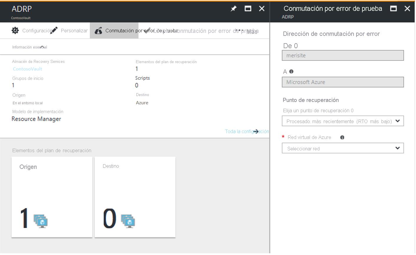 Conmutación por error de prueba a Azure en Azure Site Recovery ...