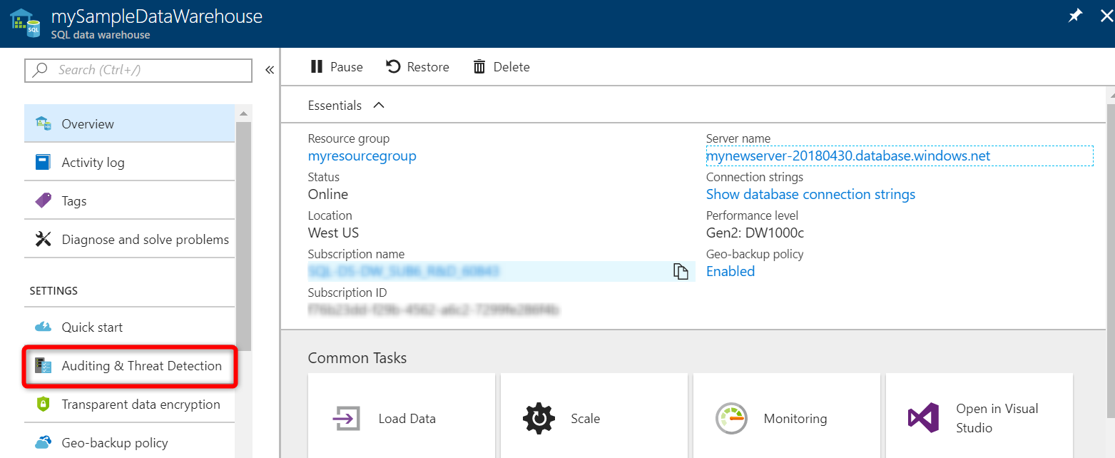 Auditoría en Azure SQL Data Warehouse | Microsoft Docs