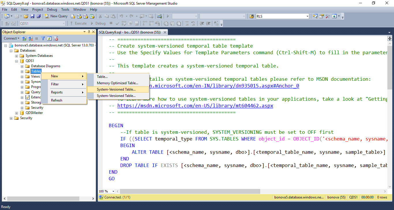Introducci n a las tablas temporales de azure sql database for New line in the table