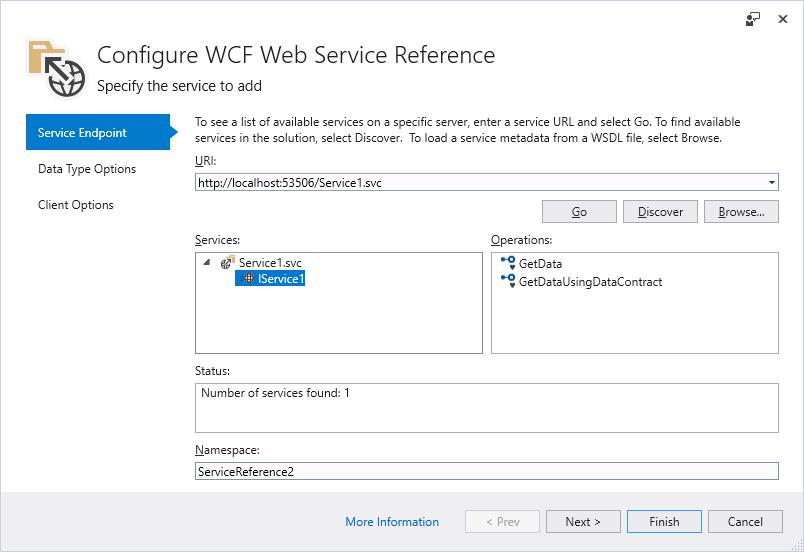Herramienta Microsoft WCF Web Service Reference Provider | Microsoft ...