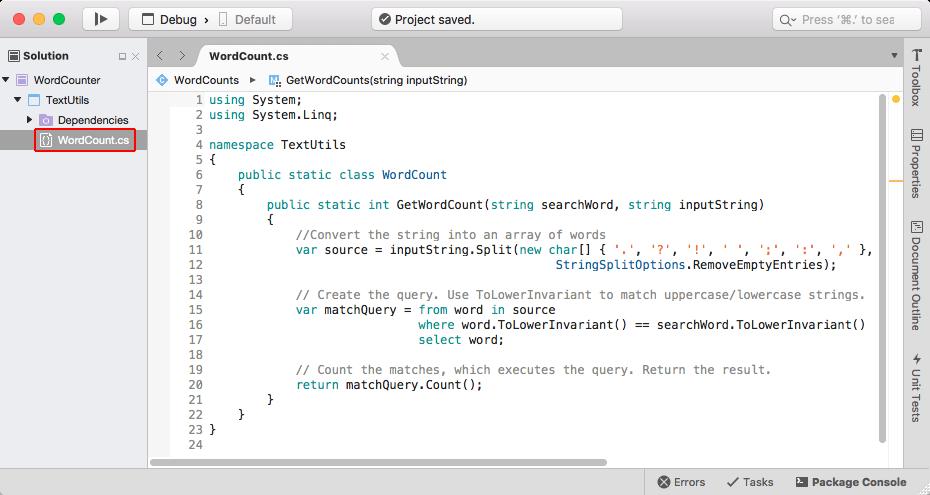 Creación de una solución completa de .NET Core en macOS con Visual ...