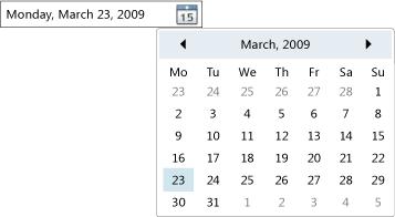 Timeline date picker wpf