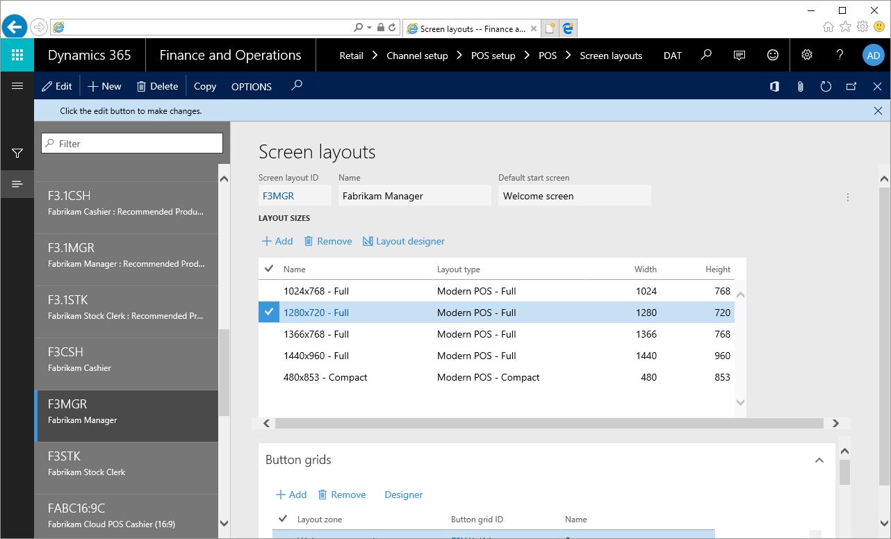 Diseños de pantalla de datos de demostración en Retail Modern POS ...