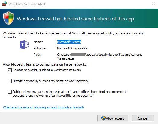 Captura de pantalla de un cuadro de diálogo Alerta de seguridad de Windows.