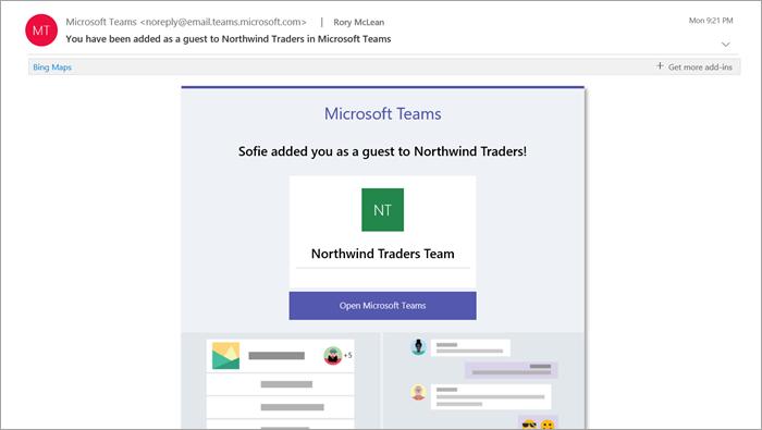 Captura de pantalla que muestra un ejemplo de un mensaje de correo electrónico de bienvenida