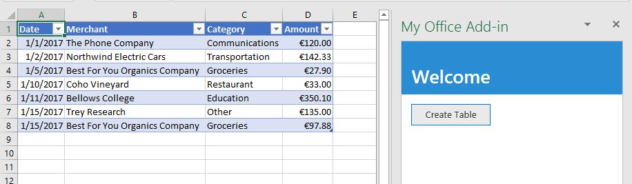Crear una tabla en Excel mediante la API de JavaScript de Excel ...