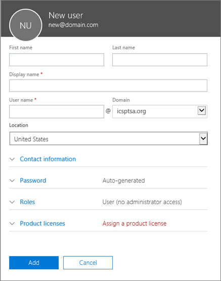 Screenshot of fields to fill out when you add a user to Office 365 for business