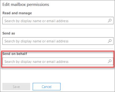 Permitir a otro usuario enviar en nombre de este usuario