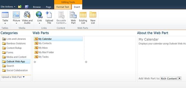 Outlook Calendario.Configuring Sharepoint Mycalendar Web Parts To Synchronize